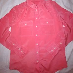 J.Crew 100% silk button down blouse, pink